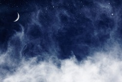 A fantasy cloudscape with stars and a crescent moon overlaid with a vintage, textured paper background.