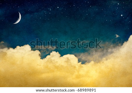 a fantasy cloudscape with stars ...