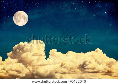 A fantasy cloudscape with stars and a full moon overlaid with a vintage, textured watercolor paper background. - stock photo