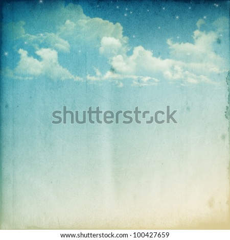 A Fantasy Cloudscape With Stars. Retro Illustration On Textured Vintage Paper