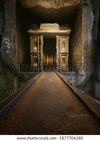 A fantasy 3D rendered interior from a magic cave or tomb.