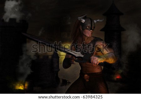 A fantasy image of a male warrior defending his castle against unseen opponents.  Nighttime smoke and fire.