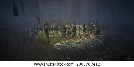 A fantasy level design concept that centers around a old temple that has disintegrated due to the passage of time and nature in its finest form. Life is sustained at the center of the cave. 3D Render Photo stock ©