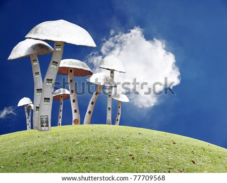 A fantasy of elves community living in mushroom building on top of a green grassy hill in a serene peaceful fairy tale world.