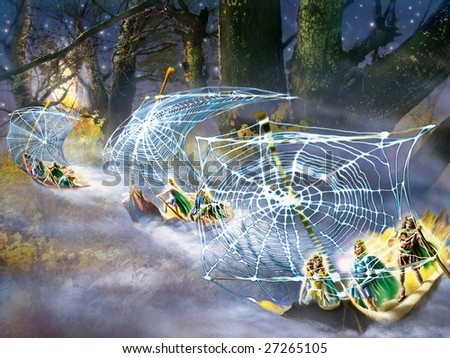 A fantasy picture with fairies, flying by ships of leaves.