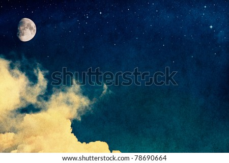 A fantasy rendition of clouds and fog with stars and the moon overlaid with a vintage, textured watercolor paper background.