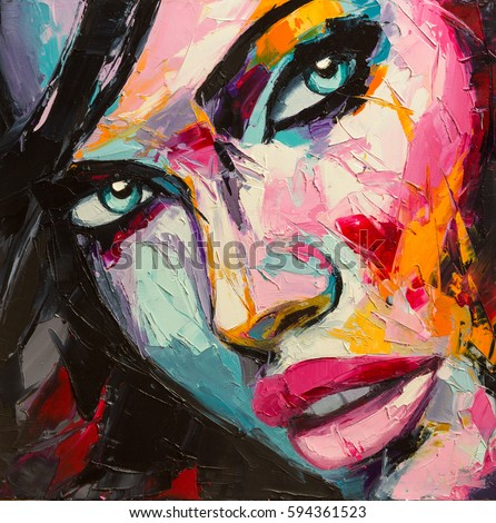 A fantasy woman colorful portrait in abstract and pop art styles. Oil painting on canvas.