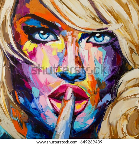 A fantasy woman portrait, this is not anyone in particular, it is a compilation of different images and faces. Original artwork, oil on canvas, fauvism and pop art styles.
