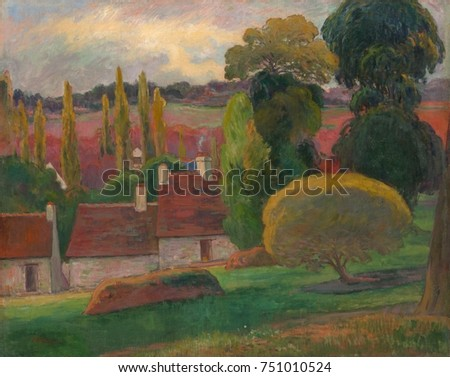A Farm in Brittany, by Paul Gauguin, 1894, French Post-Impressionist painting, oil on canvas. This work was painted in 1894, between the artists travels to tropics and employs the rich color he adopte
