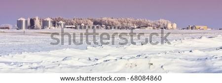 A farm yard in the  frosty winter wonderland on the prairies.