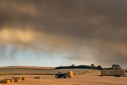 A farmer collecting hale bales with a tractor on his farm during a late summer evening.