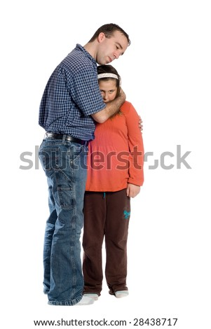father comforting his preteen daughter isolated against a white ...