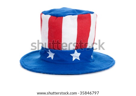 A felt Uncle Sam hat on a white background,  United States of America Independence Day decoration or costume