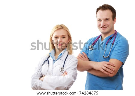 A female and a male doctor on white