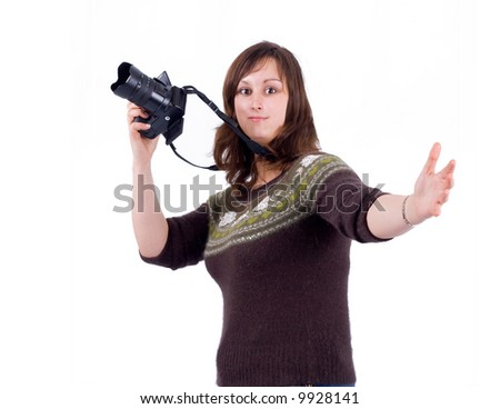 "a female artist photographer in a studio gestures with her cam - See similar images of this ""Gorgeous women"" series in my portfolio"