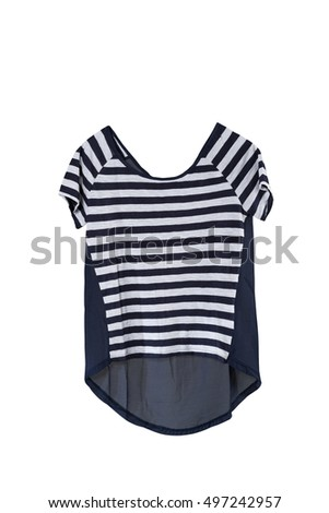 b6dccde3 A female blue stripe t-shirts back side with wooden hanger isolated white  background with
