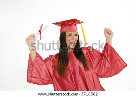 A female caucasian in red graduation gown and very excited.  She is on a white background.