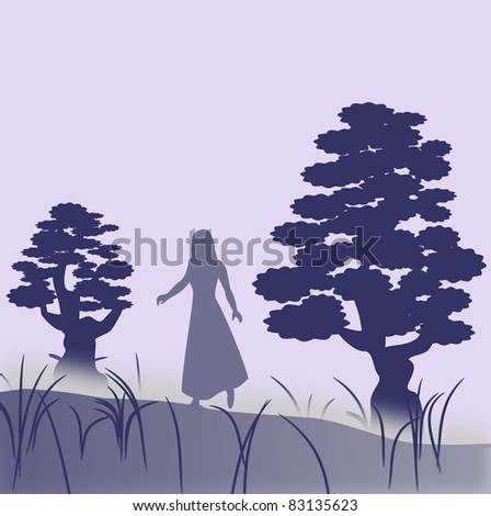 A female character who walks in the fog between two  large trees.