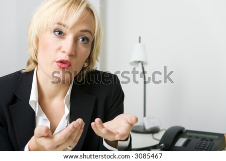 A female consultant consulting or explaining - stock photo