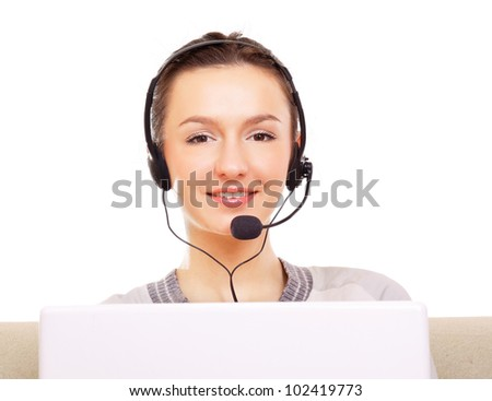 A female customer service consultant working