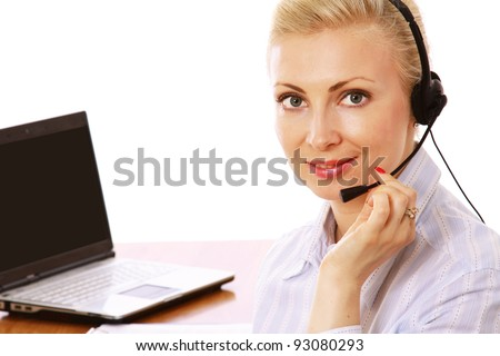 A female customer service sitting at workplace, isolated on white background