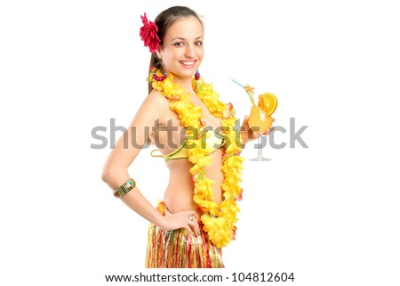 A female dressed in a hawaiian costume holding a cocktail isolated on white background