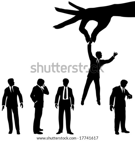 A female hand to find, select, choose, pick a business man to dangle above a line of business people. Includes 2 clipping paths: hand; people.