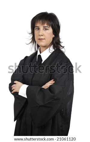 A female judge isolated on white background