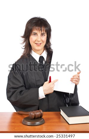 A female judge points to blank court order, over a white background. Shallow depth of field