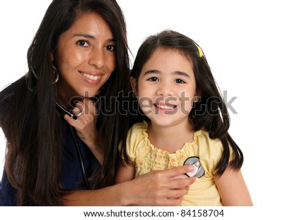 A female nurse with patient set on a white background