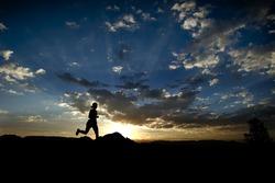 A female runner enjoys the morning in Sedona Arizona
