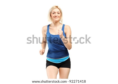 A female runner isolated on white background