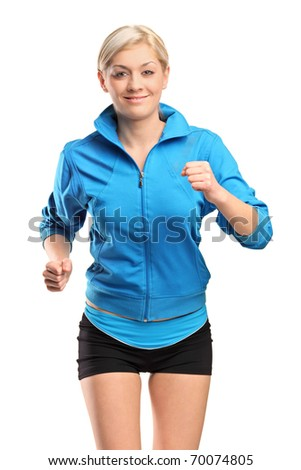 A female runner running isolated against white background