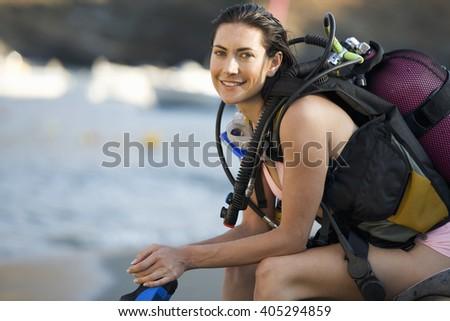 A female scuba diver