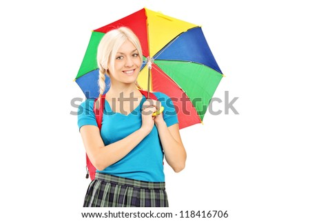 A female student holding an umbrella isolated against white background