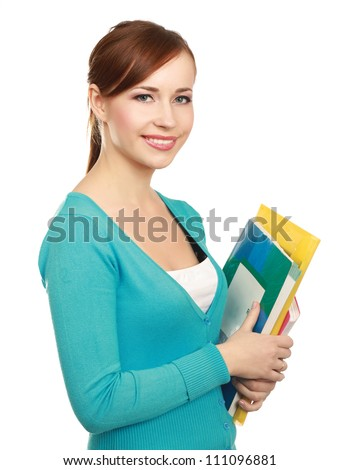 A female student holding books isolated on white background