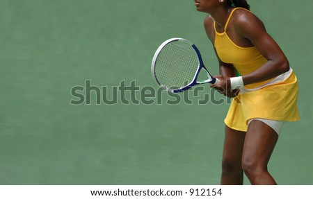 A female tennis player during a competition