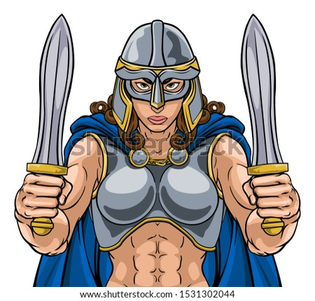 A female Viking, Trojan Spartan or Celtic warrior woman gladiator knight sports team mascot