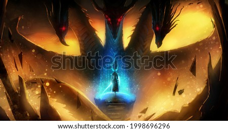 A female warrior stands on the edge of a cliff, drawing a protective barrier with her magic sword, against a huge three-headed sinister dragon, lava is bubbling under them and fiery sparks sparkle. 2d