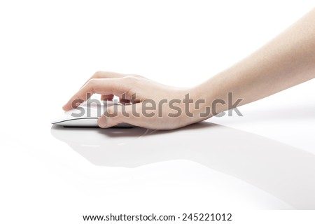 A female(woman) hand hold a mouse isolated white at the studio. #245221012
