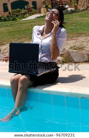 A female working outdoor in a pool