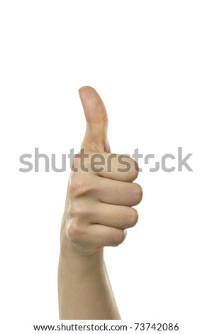 A females hand giving the thumbs up sign.