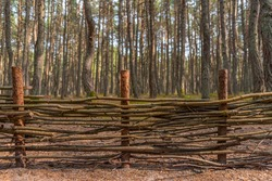 A fence made of flexible branches. The barrier enclosing the area. Fence in a wooded Park. Border of the reserve. Branches intertwining with each other. Posts and bars. Wooden fence.