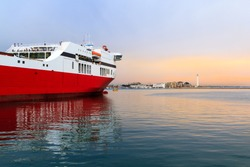 A ferry boat in the Mediterranean from Corfu in Greece to Bari in Italy
