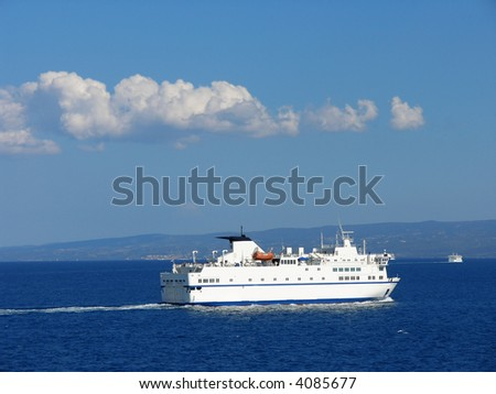 A ferryboat on Adriatic Sea in Croatia