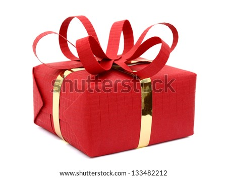 A festive gift box shopping isolated on white background