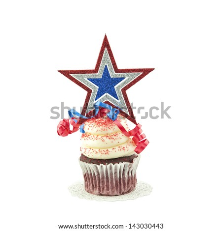 A festive red, white, and blue decorated cupcake, with a star on top, isolated on a white square cropped background.