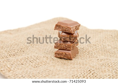 a few chocolate bars isolated on white