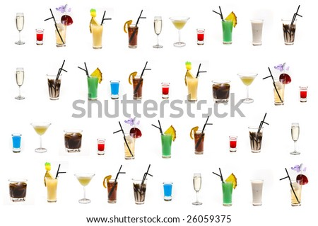 a few drinks in different glasses - stock photo