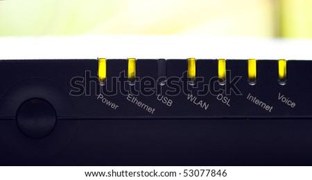 a few light on a dsl equipment - stock photo
